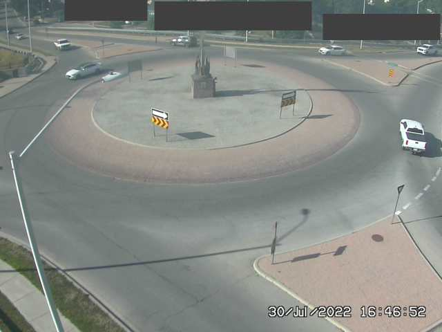 Web camera view, looking North, at the Charley Fox Memorial Overpass (Trafalgar and Hale roundabout)